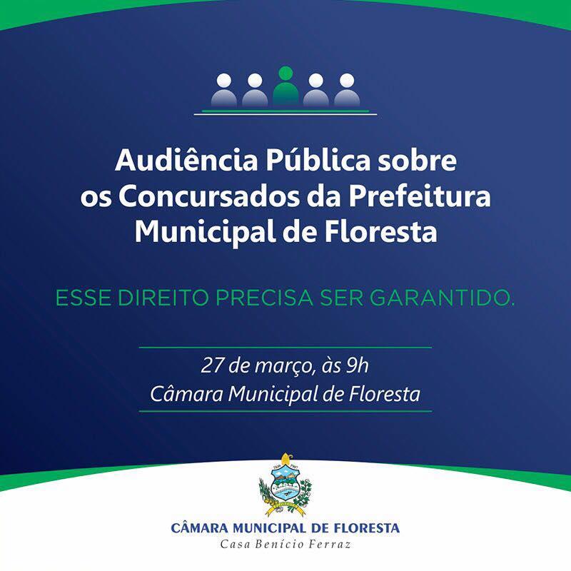 Audiência Pública sobre os Concursados da Prefeitura Municipal de Floresta