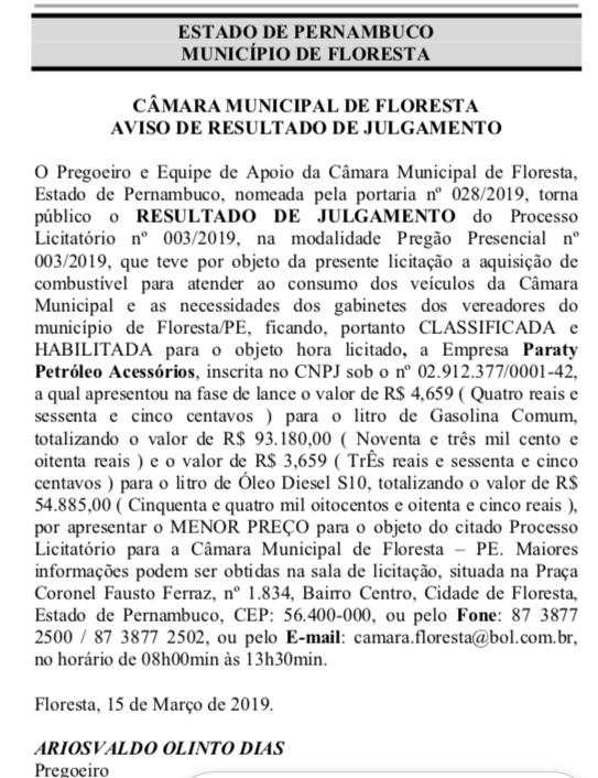 AVISO DE RESULTADO DE JULGAMENTO DO PROCESSO LICITATÓRIO N° 003/2019