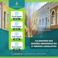 CALENDÁRIO DAS SESSÕES ORDINÁRIAS DO 2° PERÍODO LEGISLATIVO