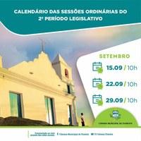 Calendário das Sessões Ordinárias do 2º Período Legislativo