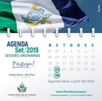 Agenda das Sessões Ordinárias do mês de Setembro