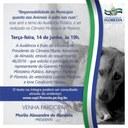 """Convite Audiência Pública com o tema """"Responsabilidade do município quanto aos animais à solta nas ruas""""."""