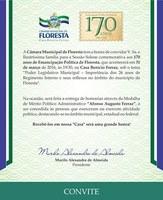 Convite para Sessão Solene comemorativa aos 170 anos de Emancipação Política de Floresta