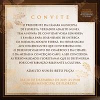 CONVITE PARA SOLENIDADE DE ENTREGA DAS MEDALHAS ADOLFO FERRAZ E CONCEIÇÃO CAHÚ