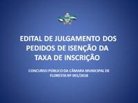 EDITAL DE JULGAMENTO DOS PEDIDOS DE ISENÇÃO