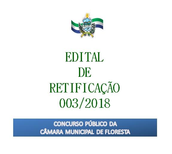 EDITAL DE RETIFICAÇÃO 003/2018