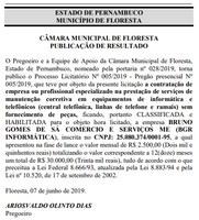 PUBLICAÇÃO DE RESULTADO DE LICITAÇÃO