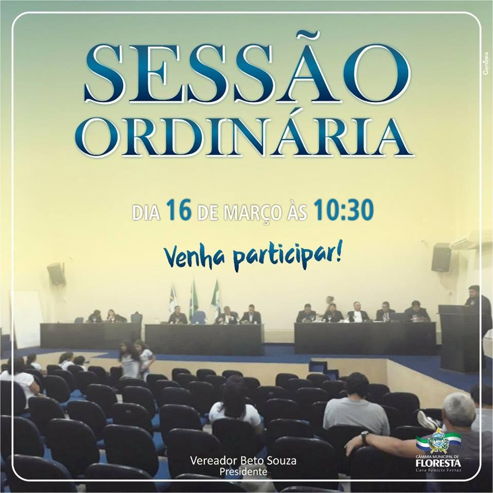 Sessão Ordinária dia 16 de março de 2018