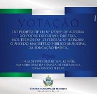 VOTAÇÃO PISO SALARIAL DO MAGISTÉRIO PÚBLICO MUNICIPAL DA EDUCAÇÃO BÁSICA