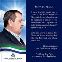 Voto de Pesar pelo falecimento do Vereador Beto Souza